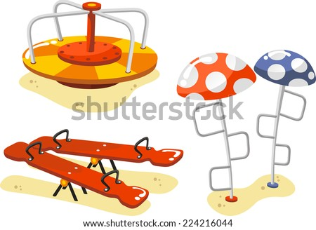 Park Playground Equipment set for Children Playing Stations, with seesaw, alternation, Merry-Go-Round and ascent game vector illustration. - stock vector