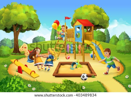 Park, playground vector background - stock vector