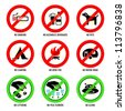 Park prohibited signs and ecology warnings, set I - stock vector