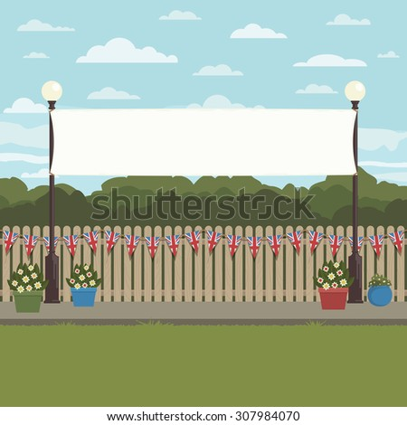 park scene with uk bunting on fence and street lights with banner for your text - stock vector