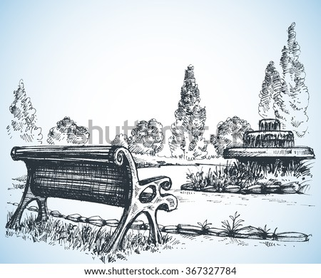 Park sketch, a fountain and bench - stock vector