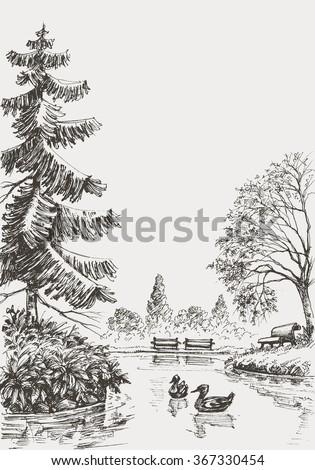 Park sketched illustration - stock vector