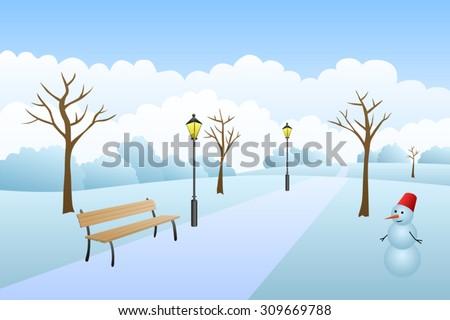Park winter landscape snow day illustration vector - stock vector