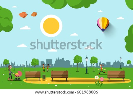 Park with Benches, People and City Skyline Silhouette. Sunny Day in City. Nature Vector Illustration.