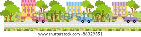 Parked car near the entrance to the house - stock vector