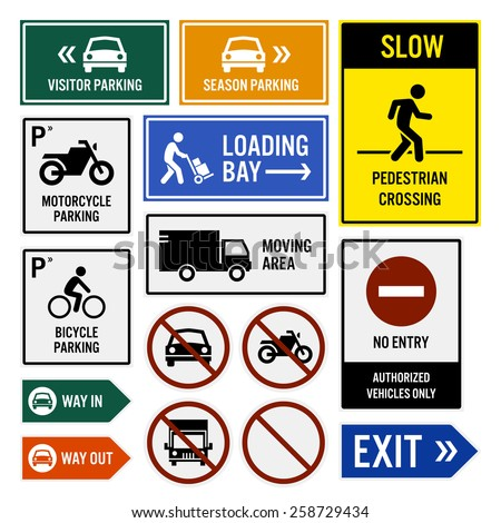 Parking Area Compound Signboards - stock vector