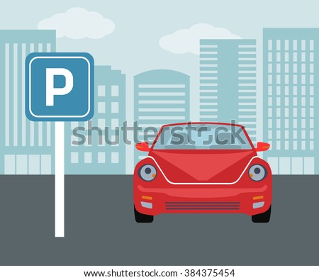 Parking concept in flat style over blue background  - stock vector
