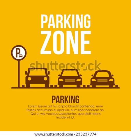 Parking design over yellow background, vector illustration. - stock vector