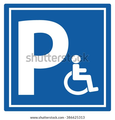 Parking For Handicap Disabled Sign Icon Vector Illustration