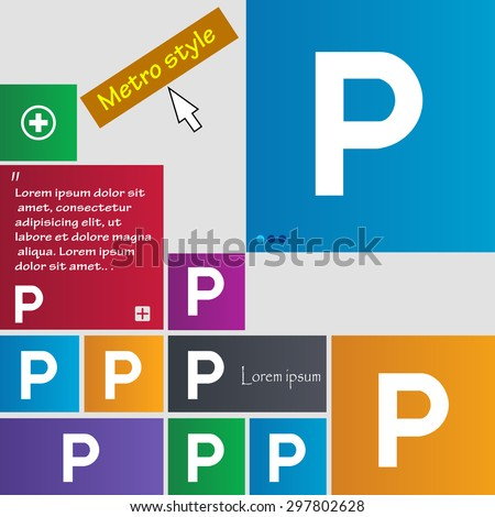 parking icon sign. buttons. Modern interface website buttons with cursor pointer. Vector illustration - stock vector