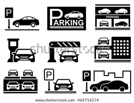 parking icons set with cars silhouette and parking symbols