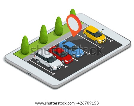 Parking lot displayed on laptop. 3d isometric illustration of car park location on tablet.
