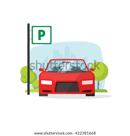 Parking lot vector illustration isolated on white, flat parking lot sign near the car parked, cartoon parking place design - stock vector