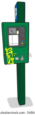 Parking meter 2 front view - stock vector