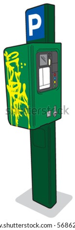 Parking meter 3 left view - stock vector