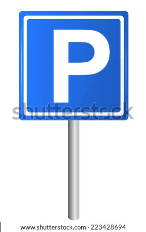 Parking traffic sign on pole, vector - stock vector