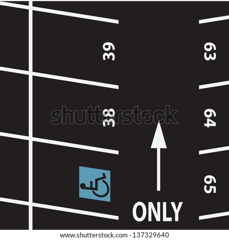 Parking with the symbol for the disabled. Vector illustration. - stock vector