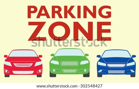 Parking zone design. Vector illustration of colorful cars.