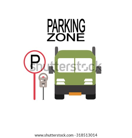parking zone illustration over white color background