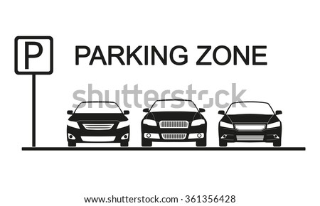 Parking zone sign with car icons. Parking concept in flat style. Vector illustration. - stock vector