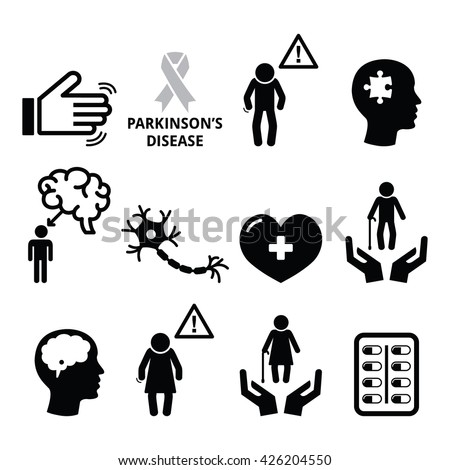 Parkinson's disease, senior's health icons set - stock vector