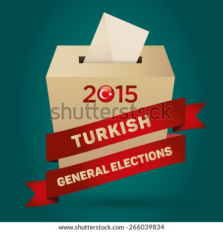 Parliamentary elections in Turkey 2015 Badge Turkish Flag symbol and Ballot Box in a green background - stock vector