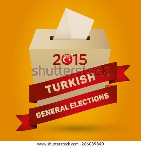 Parliamentary elections in Turkey 2015 Badge Turkish Flag symbol and Ballot Box in a yellow background - stock vector