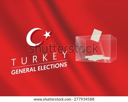Parliamentary elections in Turkey 2015. Ballot Box - Turkish Flag Symbol Vector - stock vector