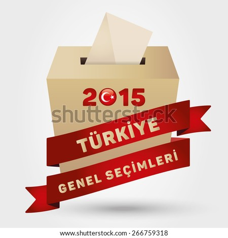 Parliamentary elections in Turkey 2015. English: Turkey General Elections. Turkey Map and Ballot Box - Turkish Flag Symbol, White Background - stock vector
