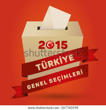 Parliamentary elections in Turkey 2015. English: Turkey General Elections. Turkey Map and Ballot Box - Turkish Flag Symbol, Orange Background - stock vector