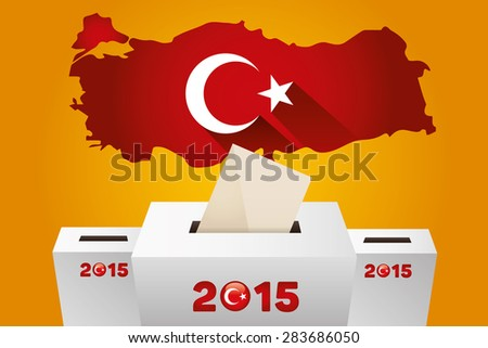 Parliamentary elections in Turkey 2015.Turkey Map and white ballot Box - Turkish Flag Symbol, Yellow Background - stock vector