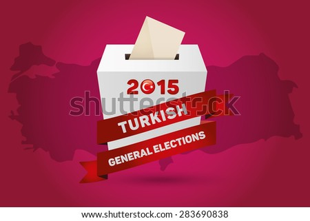 Parliamentary elections in Turkey 2015. Turkey Map and White Ballot Box - Turkish Flag Symbol, Magenta Background - stock vector