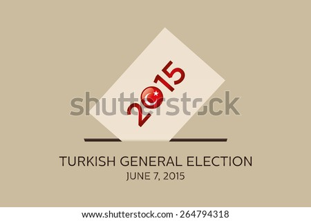 Parliamentary elections in Turkey 2015. Turkish Flag symbol and Ballot Box in a beige background - stock vector