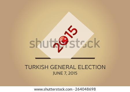 Parliamentary elections in Turkey 2015. Turkish Flag symbol and Ballot Box in a gold background - stock vector