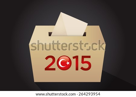 Parliamentary elections in Turkey 2015. Turkish symbol and gold election ballot box for collecting votes in a black background. - stock vector