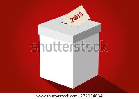 Parliamentary elections in Turkey 2015. Turkish symbol and white election ballot box for collecting votes in a red background. - stock vector