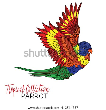 Parrot. Colored tropical bird. Vector illustration.