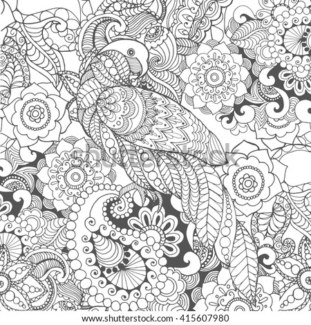Parrot in fantasy flowers. Animals. Hand drawn doodle. Ethnic patterned illustration. African, Indian, totem tattoo design. Sketch for avatar, tattoo, poster, print or t-shirt.