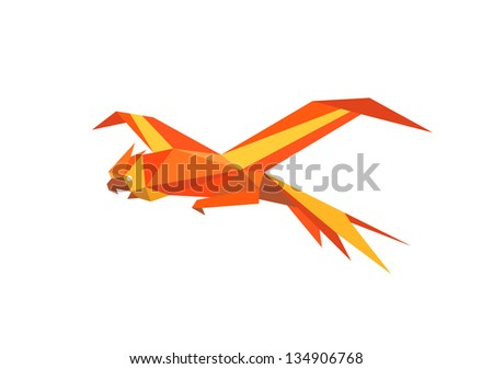 Parrot in origami style. Jpeg version also available in gallery - stock vector