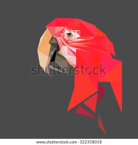 Parrot low poly design. Triangle vector illustration. - stock vector