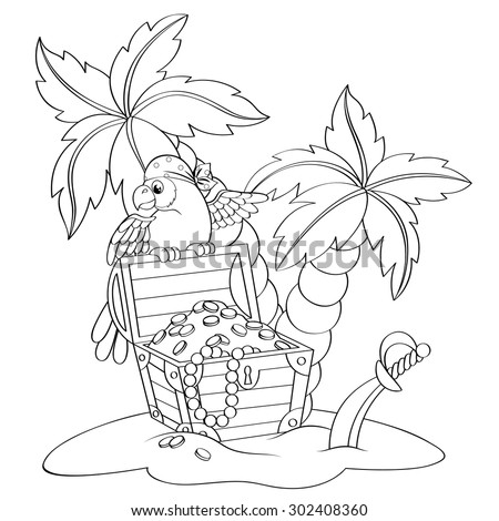 Parrot on pirate's treasure chest. Deserted beach with palm trees. Black and white vector illustration for coloring book  - stock vector