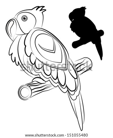 parrot outline and silhouette vector