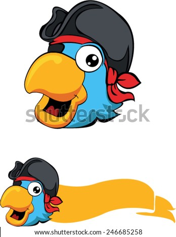 Parrot pirate with banner - stock vector