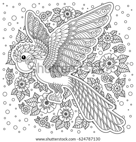 Parrot Tropical Bird Vector Illustration Coloring Book For Adult And Older Children