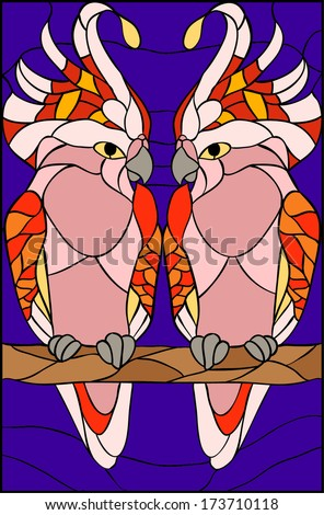 Parrots and love  / stained glass window - stock vector