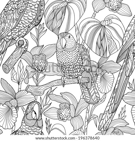 Parrots and tropical flowers. Vector seamless pattern - stock vector