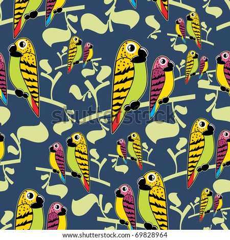 Parrots couple on blue background - pattern - stock vector