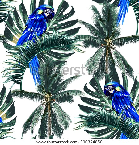 Parrots, exotic birds, palm trees, jungle leaves, palm leaf, beautiful seamless vector floral tropical pattern background - stock vector