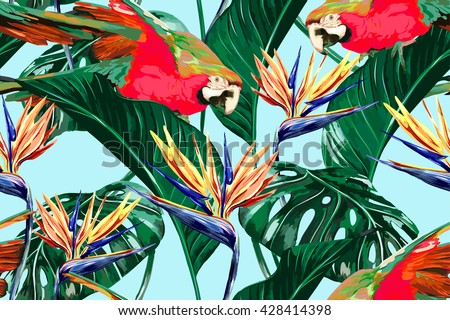 Parrots, exotic birds, tropical flowers, palm leaves, jungle leaves, bird of paradise flower, seamless vector floral pattern background - stock vector