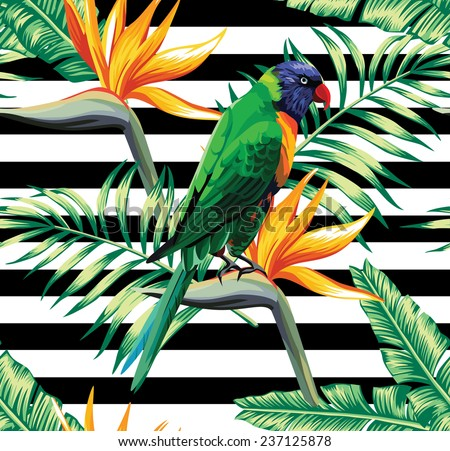 parrots exotic floral seamless background - stock vector